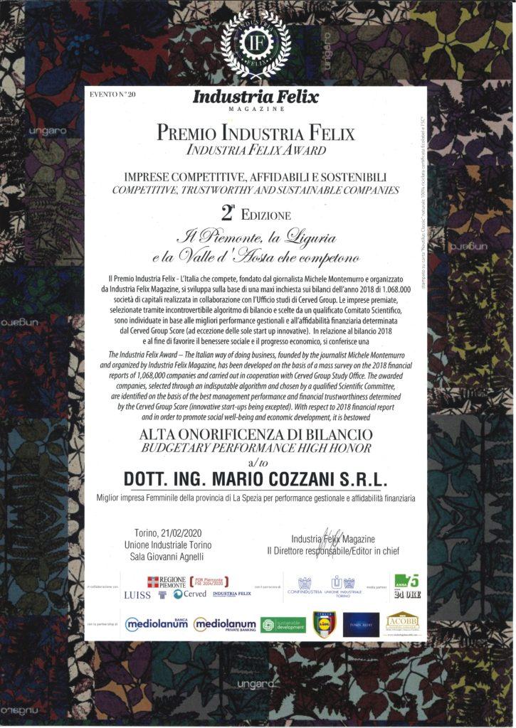 Cozzani awarded with INDUSTRIA FELIX AWARD